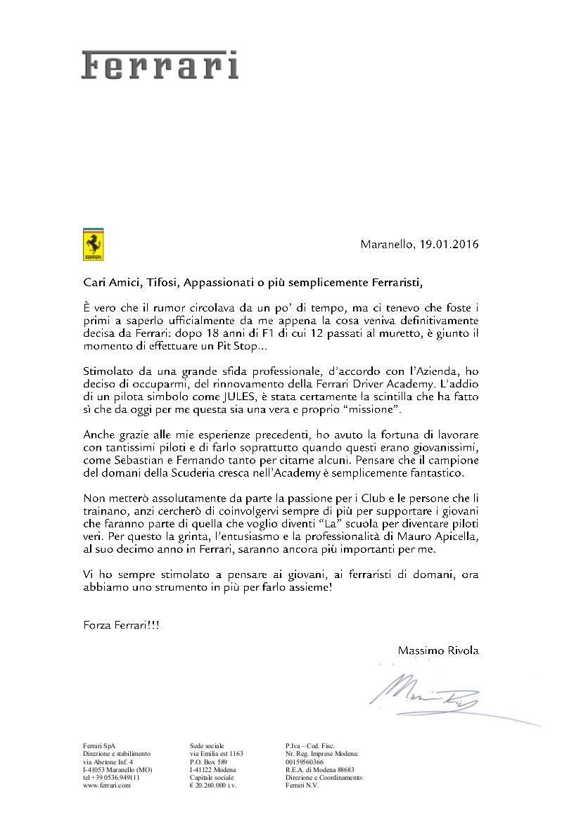 Messaggio Massimo Rivola 19 01 2016
